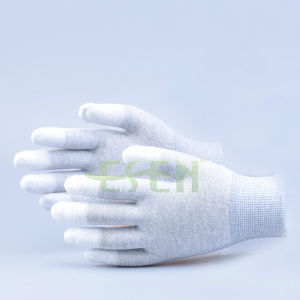 13G Seamless Carbon Fiber Conductive ESD Gloves ESD PU Coated Gloves pictures & photos
