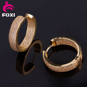 Fashion 2016 Gemstone 18k Gold Hoop Earrings pictures & photos
