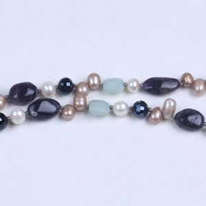 Amethyst Stone Chips Freshwater Pearl Beaded Necklace Jewelry for Women pictures & photos