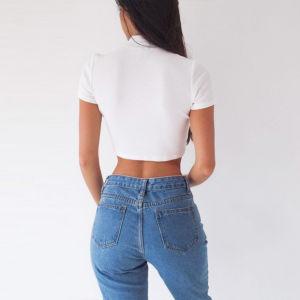 Ladies Fashion Sexy Side Lace-up T-Shirt Blouse pictures & photos