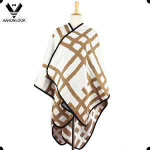 2017 New Design Woven Stripe Big Cashmere Poncho pictures & photos