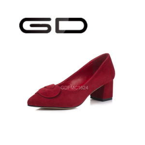 Suede Chunky Heel Point Toe Women Shoes Leather Shoes pictures & photos