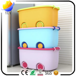 Cartoon Thickening Plastic Children Finishing Box Belt Wheel Cover Plastic Storage Box pictures & photos