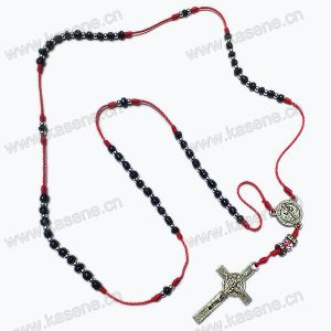 Christian Mini Beads Knot Rosary Necklace, Religious Glass Rosary with Crucifix Pendant