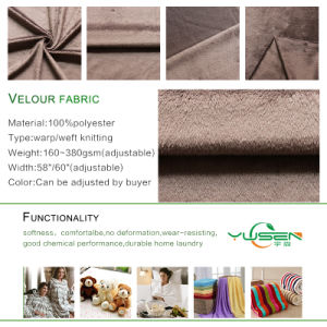 Custom Cheap 100% Polyester Warp Velour Brushed Super Soft Fabric pictures & photos