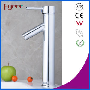 Fyeer Chrome Plated High Body Downward Long Spout Single Handle Wash Basin Faucet Sink Water Mixer Tap Wasserhahn pictures & photos