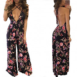 Fashion Women Chiffon Printed Sexy V-Neck Backless Bandage Clothes Jumpsuit Dress pictures & photos