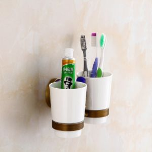 FLG Double Toothbrush Holder Wall Mounted with Blue Crystal pictures & photos
