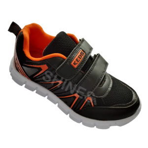 Black Kids Sport Shoes with Hot Carve Upper for Boys