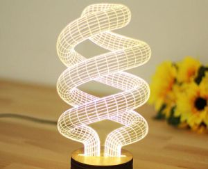 Customized 5mm Thick 3D Acrylic Mood Lamp LED Flat 3D LED Light Optical Illusion LED Night Light with Wooden Base pictures & photos