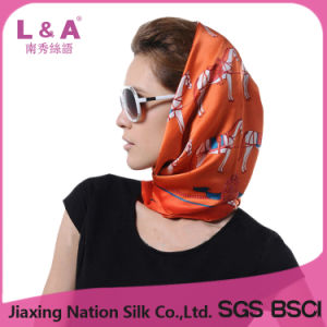 Lady Silk Scarf with Allover Animal Printed Fashion Pattern (SP429AB)