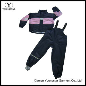Girls Toddler Kids Pink Black Raincoats PU Rainwear Rain Slicker pictures & photos