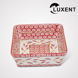 Low Cost Ceramic Banquet Coloured Glaze Square Cake Plate