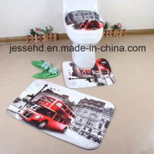 Toilet Cover Seat and Bath Custom 3D Printed 3 Piece Anti-Slip Bath Mat Set pictures & photos