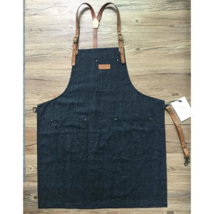 Top Quality Black Denim Barista Aprons with Leather Strap for Sale pictures & photos