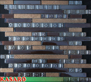 Strip Glass Mix Stone Mosaic, Decoration Tiles, Glass Items (KSL-132036)