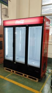 Three Doors Upright Display Freezer 1500L for North America Market pictures & photos