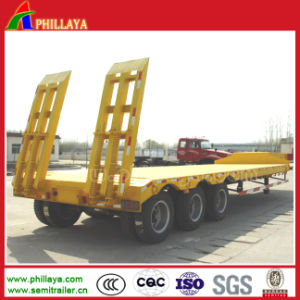 Heavy Duty 3 Axle 50tons Lowbed Low Boy Truck Semi-Trailer pictures & photos