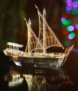 Kuwait Dhow Crystal and Gold Plated Model