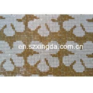 Polished 1*1cm Wall Floral Design Golden/White Mosaic Tile
