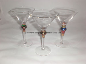 Handpainted Martini Glass Cup with Gold and Colorful Stem (B-MT04) pictures & photos