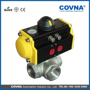 Three Way Threaded Pneumatic Ball Valve for Water Treatment pictures & photos