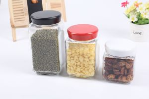 3PC Rectangular Glass Food Storage Jar Set with Metal Lid pictures & photos