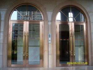 Deluxe Golden Commercial Stainless Steel Entry Door (BHS-DCA04) pictures & photos