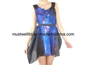 Nebula Galaxy Print Ladies′ Dress (MWNGP13034)