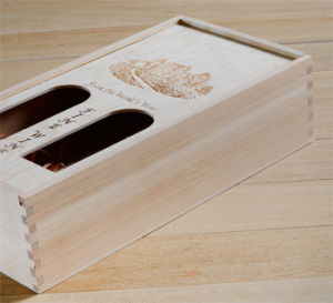 Logo Printed Single& Double Bottle Wooden Box with Window pictures & photos