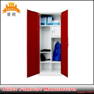 Kd Structure 2 Swing Door Steel Wardrobe Closet Metal Clothes Cabinet with Hanging Rod pictures & photos