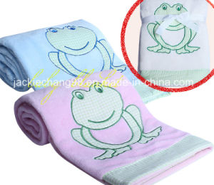 Coral Fleece Baby Blanket Frog Embroidery pictures & photos