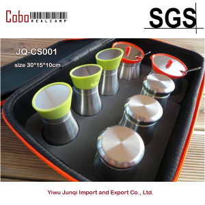 Outdoor Camping Kitchen Bottle Seasonings 304 Stainless Steel Cruets Sets Spices Jar Box Case 8PS
