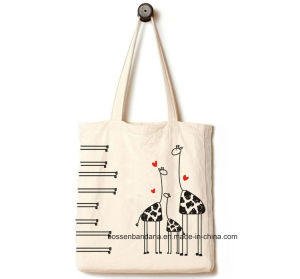 OEM Produce Customized Logo Printed Promotional Cotton Canvas Tote Beach Handbag pictures & photos