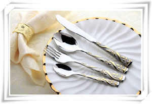 Luxury Stainless Steel Cutlery with Gold-Plating Tableware for Resturant pictures & photos