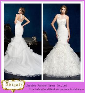 New Hot Sexy Ruffles Beaded Organza Scoop Sheer Back Sleeveless Appliques Mermaid Wedding Dress Yj0025