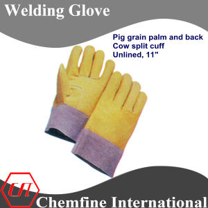 Pig Grain Palm and Back, Cow Split Cuff, Unlined Leather Welding Glove pictures & photos