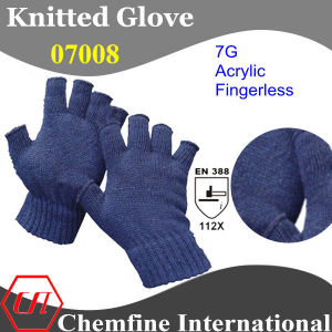 7g Blue Acrylic Fiber Knitted Fingerless Glove with Blue Over Lock/ En388: 112X pictures & photos