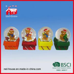 Cute Bear Glass Snow Globe on Christmas Gift Box for Xmas Decoration
