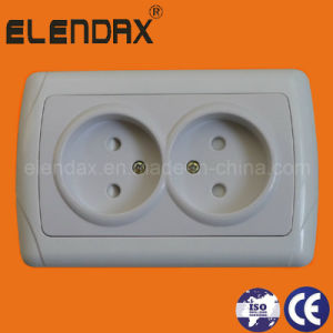 European Style Flush Mounted 2 Round Pin Wall Socket Outlet Double (F3209) pictures & photos