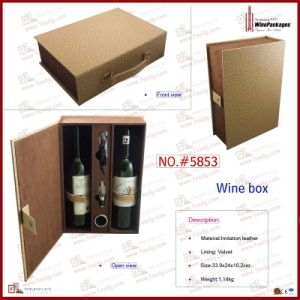 Elegant Storage Packing Leather Gift Wooden Wine Box (5853R1) pictures & photos