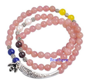 Natural Strawberry Quartz Beads Bracelet with Silver Charm (BRG0030) pictures & photos