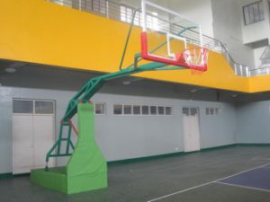 China Logo Print Manul Hydraulic Movable Basketball Stand pictures & photos