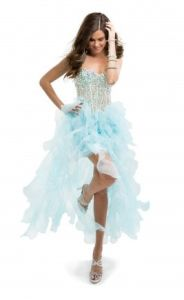 Blue Beading Short Organza Cocktail Party Evening Prom Dresses