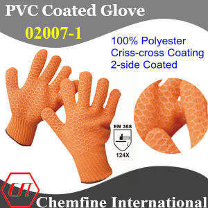 10g Orange 100% Polyester Knitted Glove with 2-Side Orange PVC Criss-Cross Coating/ En388: 124X pictures & photos