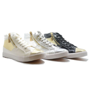 Casual Mirror Zipper Classical Student Sports Men Women High Shoes pictures & photos