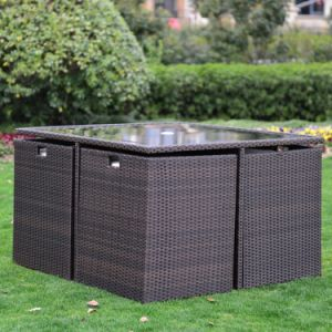 Well Furnir T-051 8 Seaters Space-Saving Rattan Cube Dining Set pictures & photos