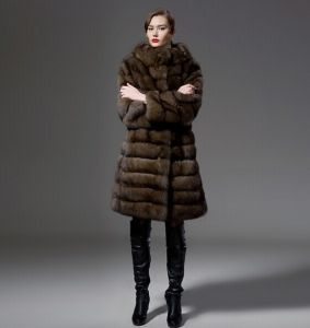 Luxury Double Natural Mink Fur Coat Mink Collar and Long Sections