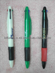 Stationery 4-Ink-Color Plastic Ball Pen with Ruber Grip (LT-A032) pictures & photos