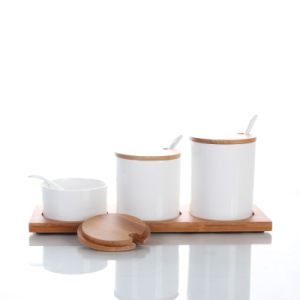 Ceramic Spice Canister Set with Bamboo Stand pictures & photos